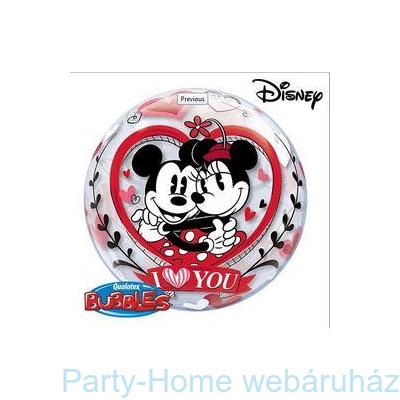 Disney Bubbles Mickey & Minnie I Love You Szerelmes Lufi