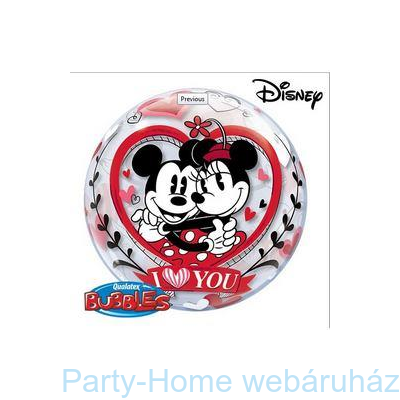 Disney Bubbles Mickey & Minnie I Love You Szerelmes Lufi