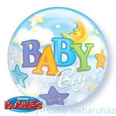 Baby Boy Moon és Stars Bubble Bébi Lufi Babaszületésre