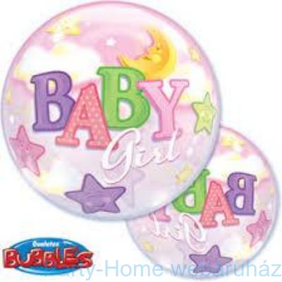 Baby Girl Moon és Stars Bubble Bébi Lufi Babaszületésre