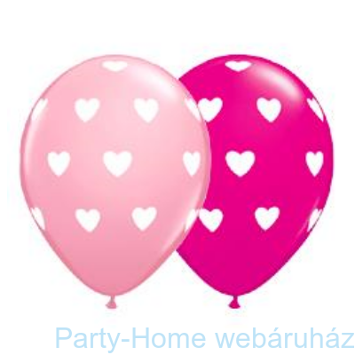 Pink and Berry Big Hearts Szives Lufi