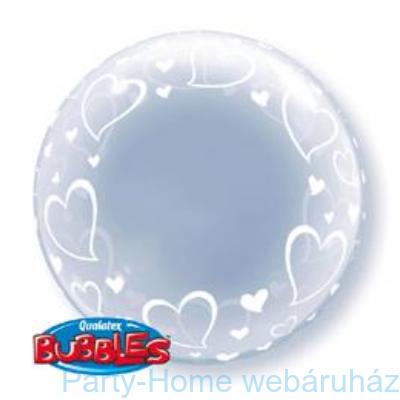 Stylish Hearts Szives Deco Bubble Lufi