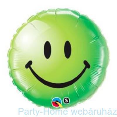 Zöld Mosolygós Arc Smile Face Green Fólia Lufi