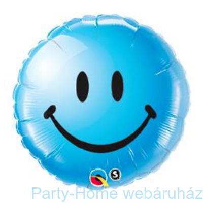 Kék Mosolygós Arc Smile Face Blue Fólia Lufi