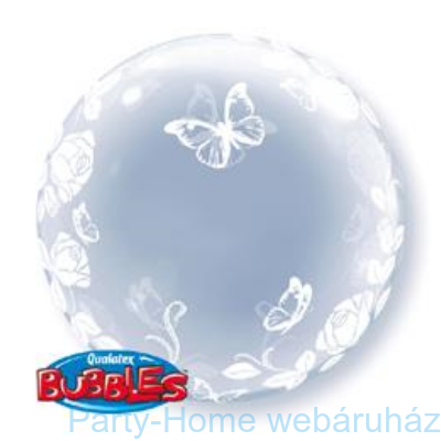 Elegant Roses and Butterflies Rózsás és Lepkés Deco Bubble Lufi
