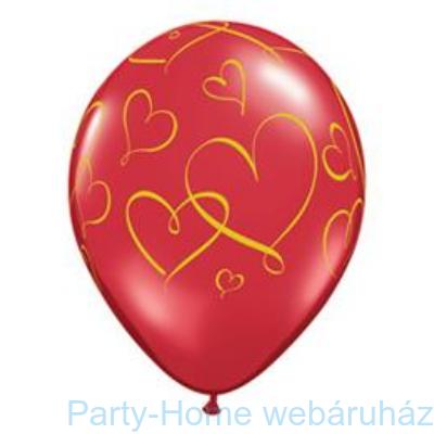 Romantic Heart Arany Szíves Mintás Ruby Red Lufi