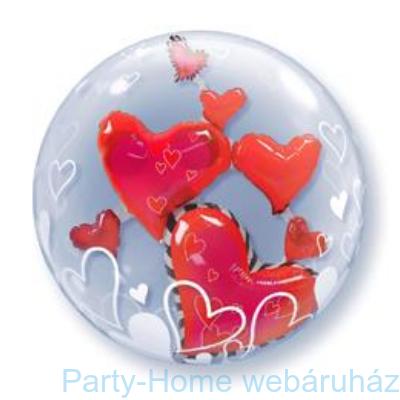 Lovely Floating Hearts Szerelmes Double Bubble Lufi