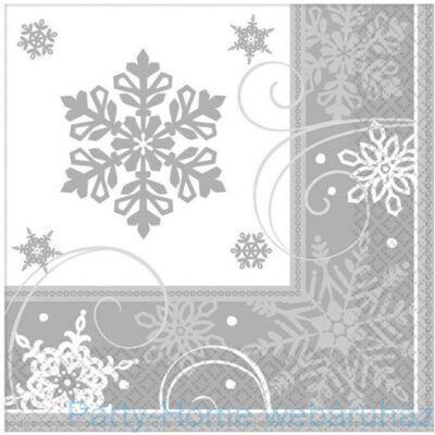 Snowflake - Ezüst Hópehely Mintás Szalvéta 33 x 33 cm, 16 db.