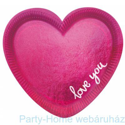 Everyday Love Szív Alakú Parti Tányér - 20 cm, 6 db-os