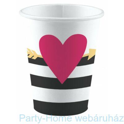 Everyday Love Pink Szives Papír Parti Pohár - 250 ml, 8 db-os