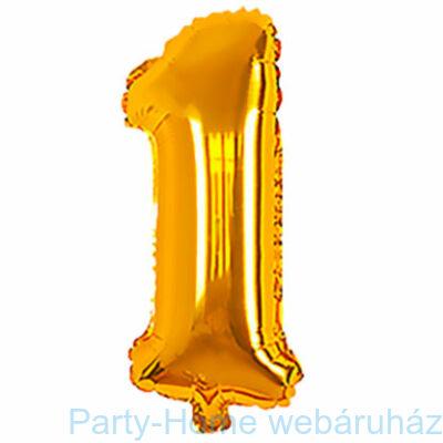 Gold - Arany Szám 1-es Fólia lufi, levegős 33 cm-es