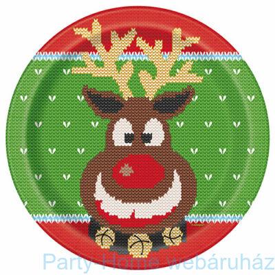 Kötött Pulcsi Mintás Karácsonyi Tányér - 8 db-os