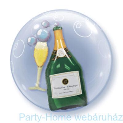 Pezsgősüveg és Pohár Bubbles Champagne Double Bubble Lufi