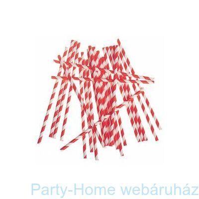Piros-Fehér Csíkos Papír Parti Szívószál