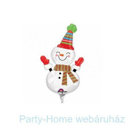 Mosolygó Hóember Smiley Snowman Mini Shape Fólia Lufi pálcás