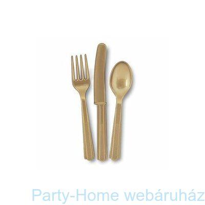 Gold Műanyag Parti Evőeszköz Válogatás