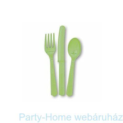 Lime Green Műanyag Parti Evőeszköz Válogatás
