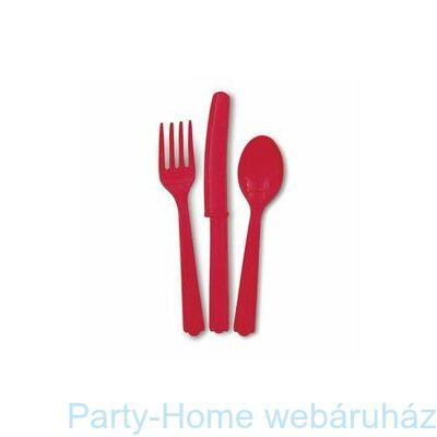 Ruby Red Műanyag Parti Evőeszköz Válogatás