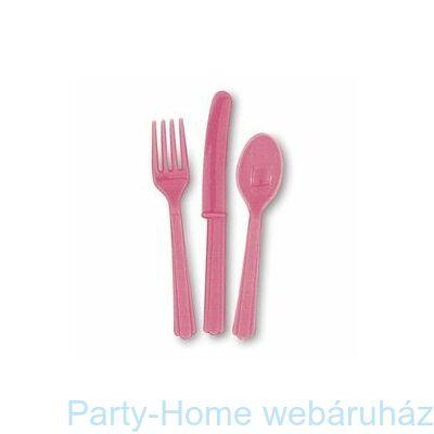 Hot Pink Műanyag Parti Evőeszköz Válogatás