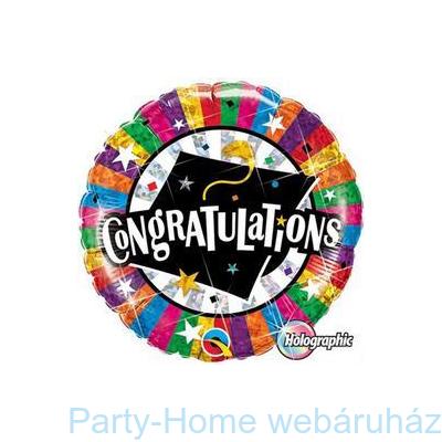 Congratulations Grad Cap Gratulálunk Holografikus Ballagási Fólia Lufi