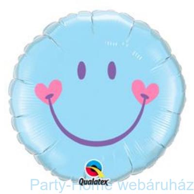 Mosolygó Arc, Fiú Sweet Smile Face Baby Pale Blue Fólia Lufi