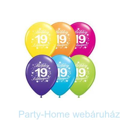 boldog 19 születésnapot 11 inch es Boldog 19. Szülinapot Feliratú Tropical Assortment Lufi  boldog 19 születésnapot