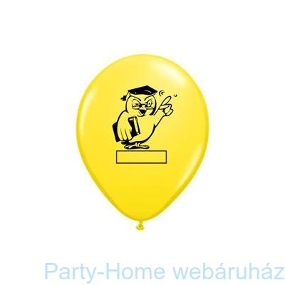 Bagoly Feliratozható Yellow Ballagási Lufi
