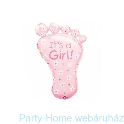 It's a Girl Foot Super Shape Fólia Léggömb Babaszületésre