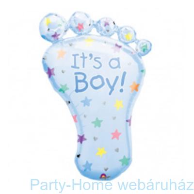 It's a Boy Foot Super Shape Fólia Léggömb Babaszületésre