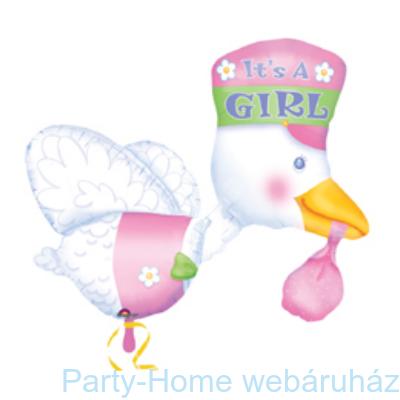 It is a Girl Bundle of Joy Stork Super Shape Fólia Léggömb Babaszületésre