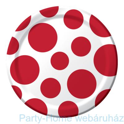Pöttyös tányér piros