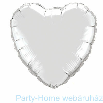 18 inch-es Silver - Ezüst Szív Fólia Lufi