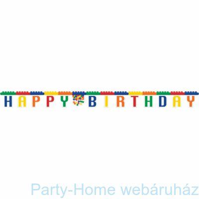 Lego Party - Lego Mintás Happy Birthday Girland - 2,3 m.
