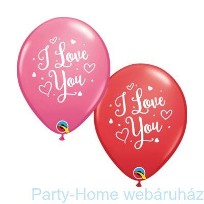 11 inch-es I Love You Hearts Script Piros & Rózsaszín Szerelmes Lufi 1 db