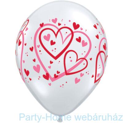 11 inch-es Red & Pink Pattern Hearts Diamond Clear Lufi 1 db