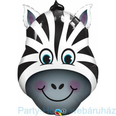 14 inch-es Zany Zebra - Zebra Fej Fólia Lufi pálcás