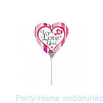 9 inch-es Pink Stripes I Love You Mini Shape Fólia