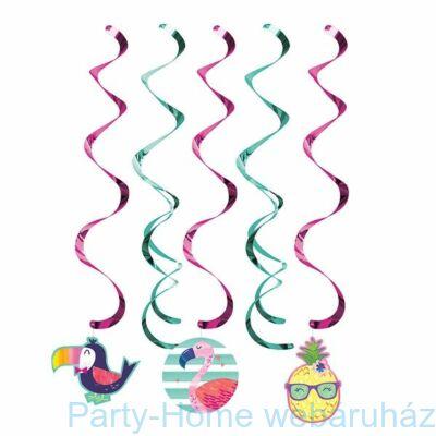 Flamingó & Ananász Party Függő Dekoráció - 5 db-os