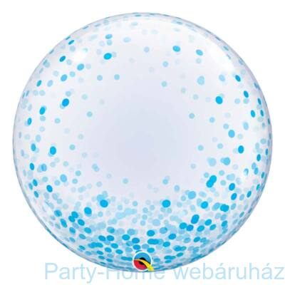 24 inch-es Blue Confetti Dots Deco Bubble Lufi