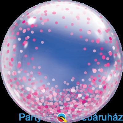 24 inch-es Pink Confetti Dots Deco Bubble Lufi