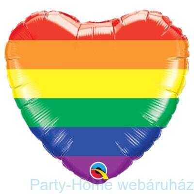 18 inch-es Rainbow Stripes Szív Fólia Lufi