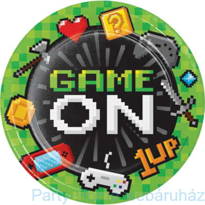 Gaming Party - Minecraft Parti Tányér 23 cm. 8 db-os