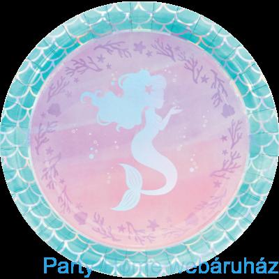 Mermaid Shine Party - Sellő Holografikus Parti Tányér 23 cm. 8 db-os
