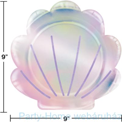 Mermaid Shine Party - Sellő Holografikus Kagyló Formájú Parti Tányér 22 cm. 8 db-os