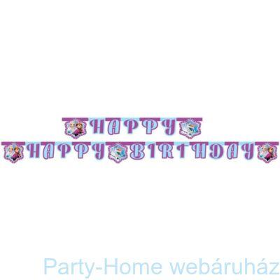 Frozen Northern Lights - Jégvarázs Északi Fény Happy Birthday girland 2,1m