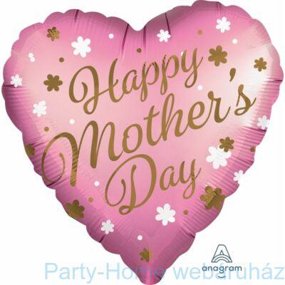 28 inch-es Happy Mother's Day Rose-Gold Szív Super Shape Anyák-napi Fólia Lufi