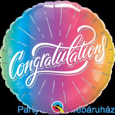 18 inch-es Gratulálunk - Congratulations Vibrant Ombre Fólia Lufi