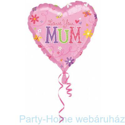 17 inch-es Love You Mom, Szeretlek Anya Szív Fólia lufi