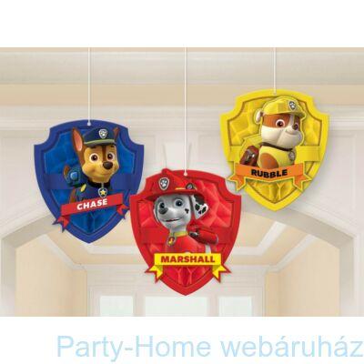 Paw Patrol Mancs Őrjárat 3D Függő Dekoráció, 3 db-os