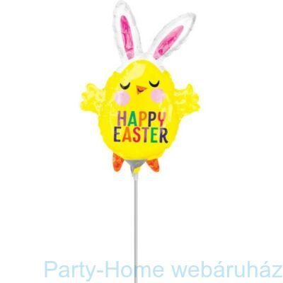 Happy Easter Csirke Nyuszifüllel Pálcás Fólia Lufi Húsvétra